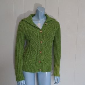 Aran Lime Wool Fisherman's Sweater Cardigan